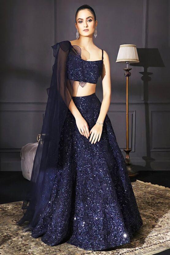 Buy Stylish party wear lehenga for teenage girl 2021 Blue