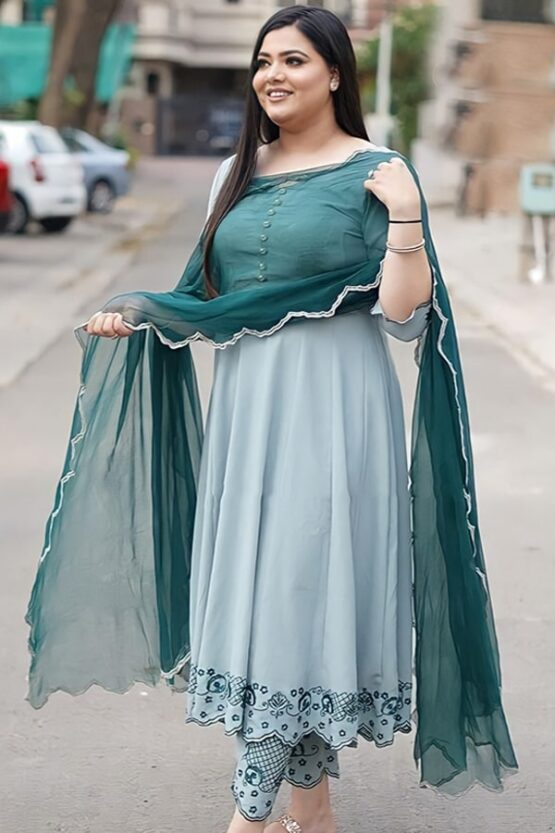 Casual simple anarkali dress for girls Pista 2021