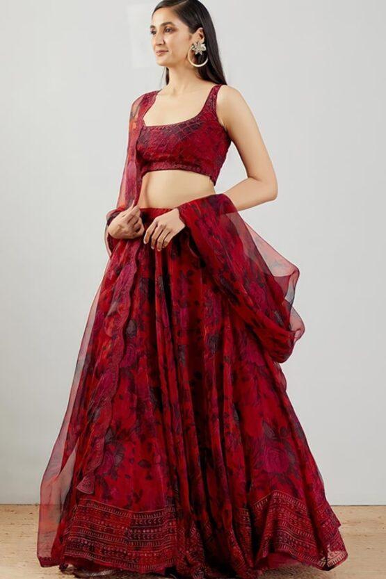 Dark red organza lehenga embroidery 2021