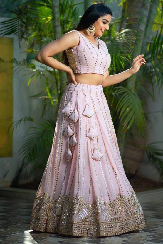 Designer baby pink lehenga for girls 2021