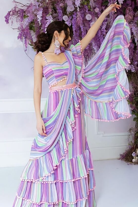 Designer stylish readymade saree 2021 Purple