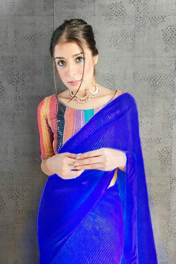 Farewell party modern farewell sarees Blue
