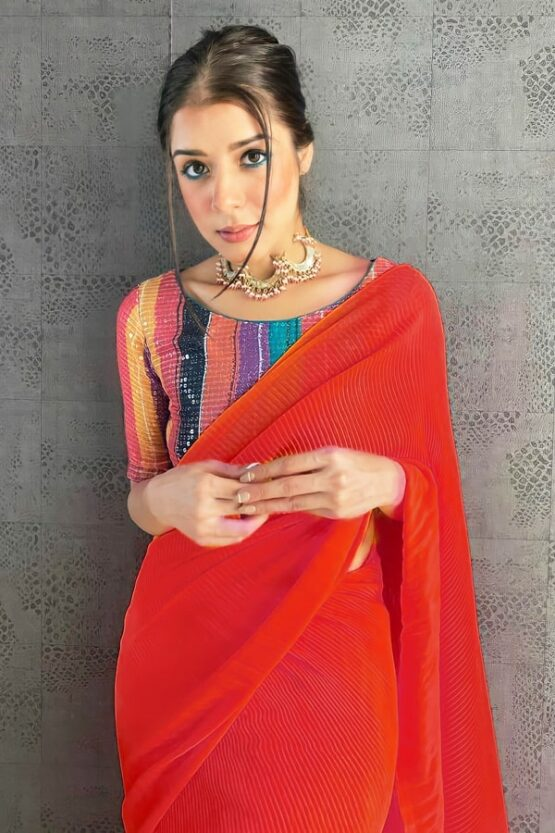 Farewell party modern farewell sarees Red