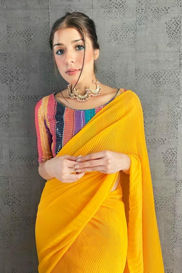 Farewell party modern farewell sarees Yellow