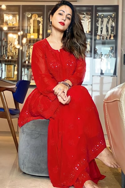 Hina khan dress collection Red