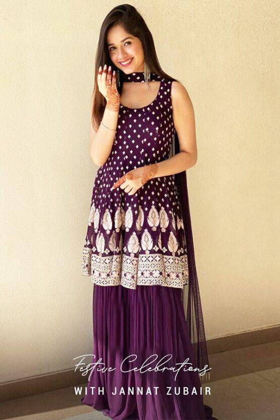 Jannat zubair dress Purple peplum Suit Online 2021