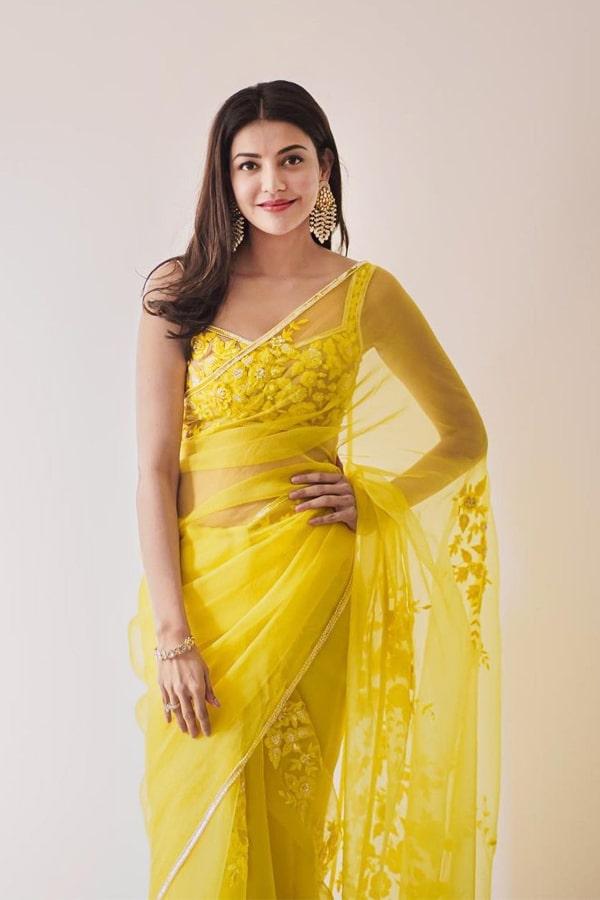 Kajal aggarwal in saree yellow online shopping 2021