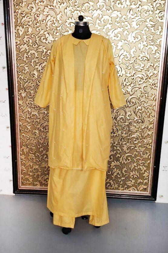 Kajal aggarwal in yellow dress 2021 Mustard Koti Suit
