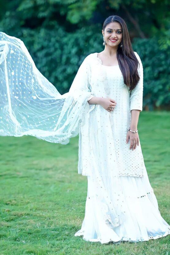 Keerthi suresh in anarkali dress White 2021