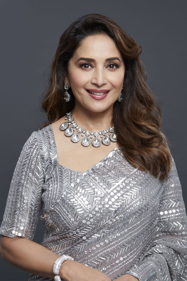 Madhuri Dixit Heavy Sequence Saree in Grey Colour-Free Ship