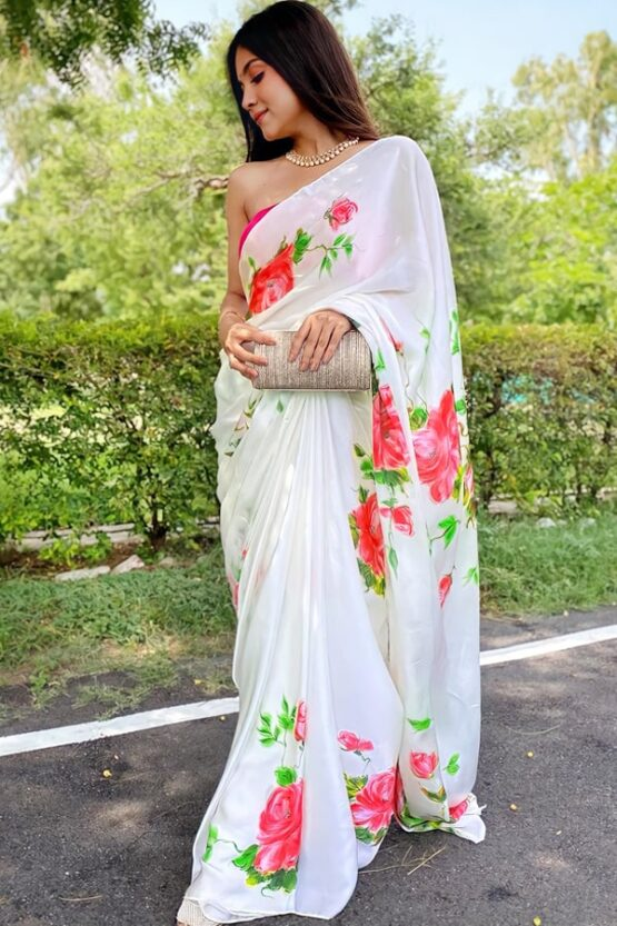Modern farewell sarees for Teenage girl.