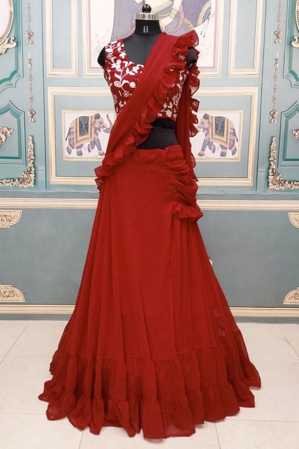 Modern lehenga style saree draping Maroon 2021