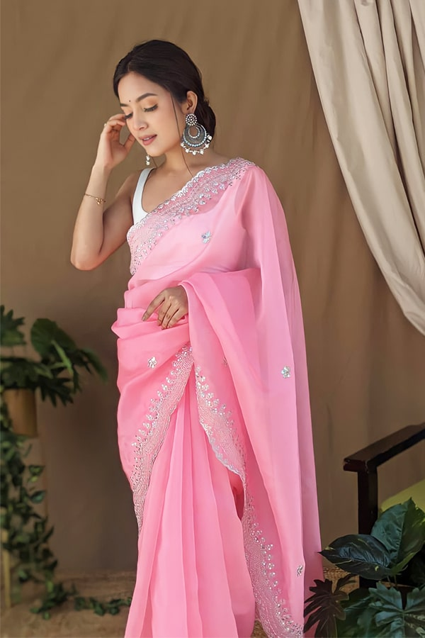 Organza silk sarees with Embroidery Pink