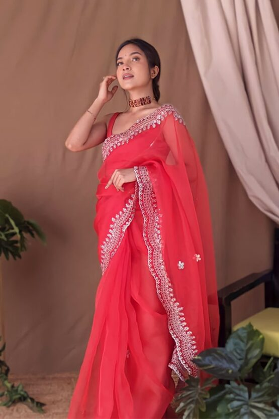 Organza silk sarees with Embroidery Red