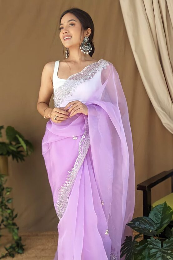Organza silk sarees with embroidery 2021. (2)