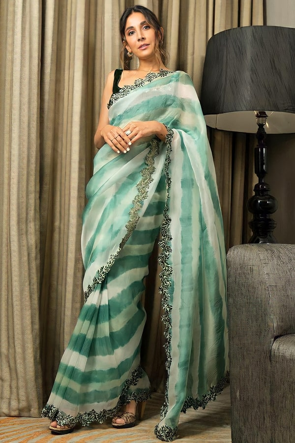 Organza silk sarees with embroidery price 2021
