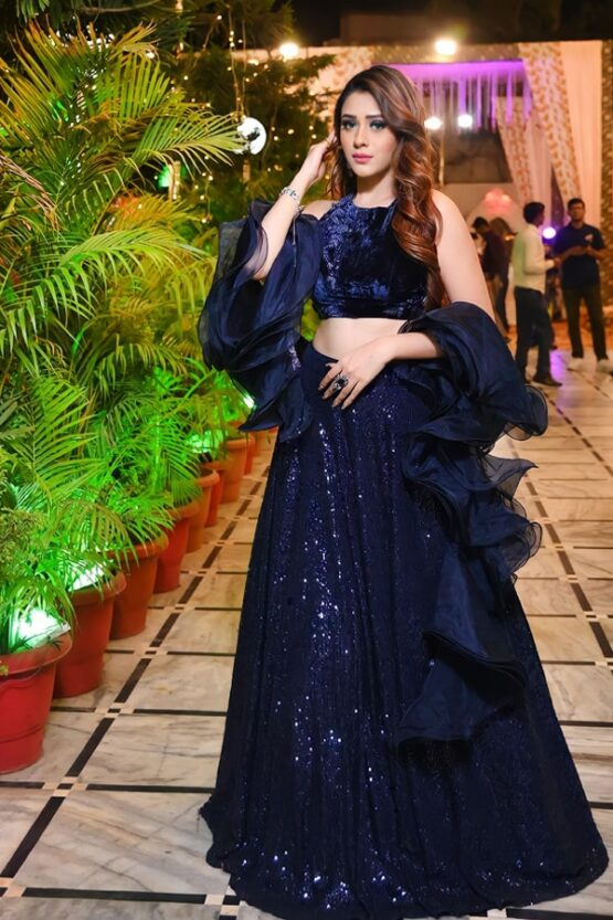 Party Wear Traditional Crop Top Lehenga 2021 Navy Blue