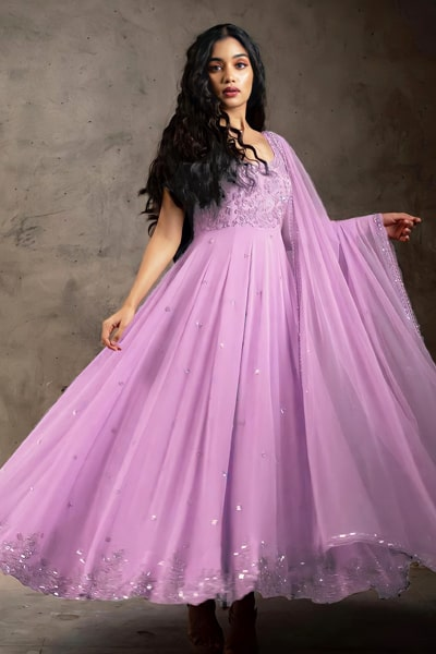 Party wear gown dress design 2021 purple