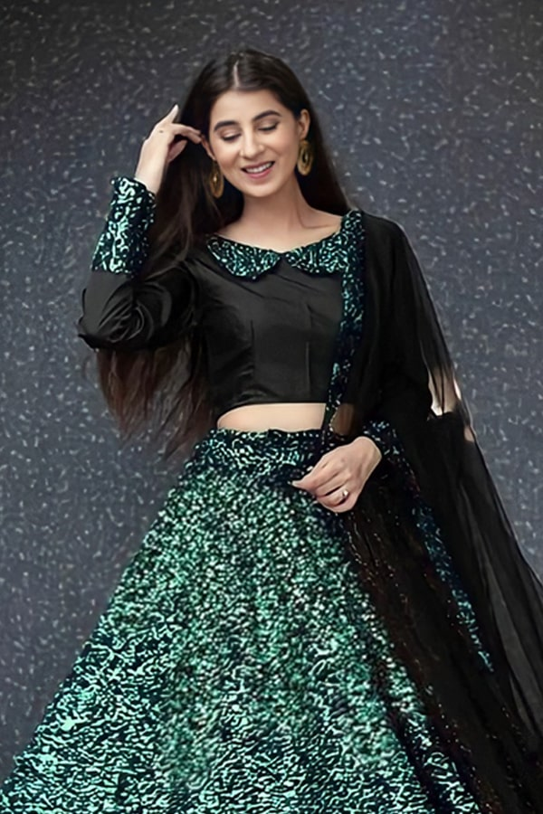 Party wear traditional crop top lehenga Green 2021