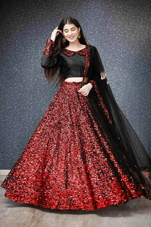Party wear traditional crop top lehenga Red 2021