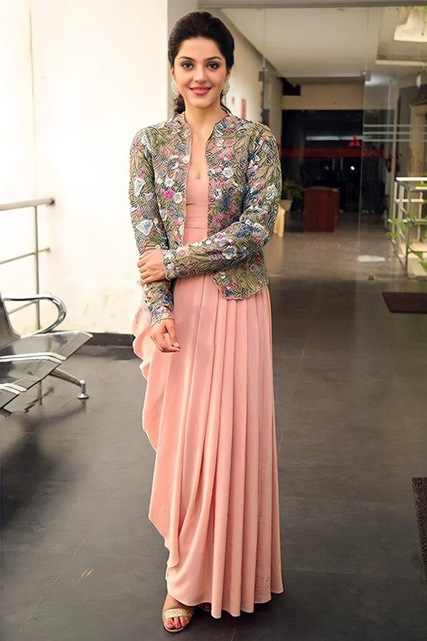 Peach gown with Jacket indian Style 2021.