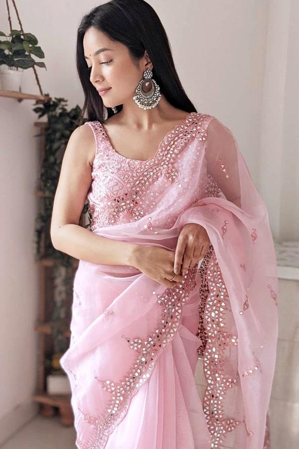 Pink organza mirror work saree 2021