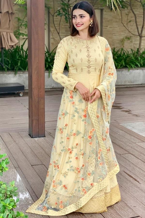 Prachi desai bollywood style yellow anarkali suit 2021