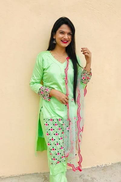 Punjabi palazzo suit design 2021 Light green