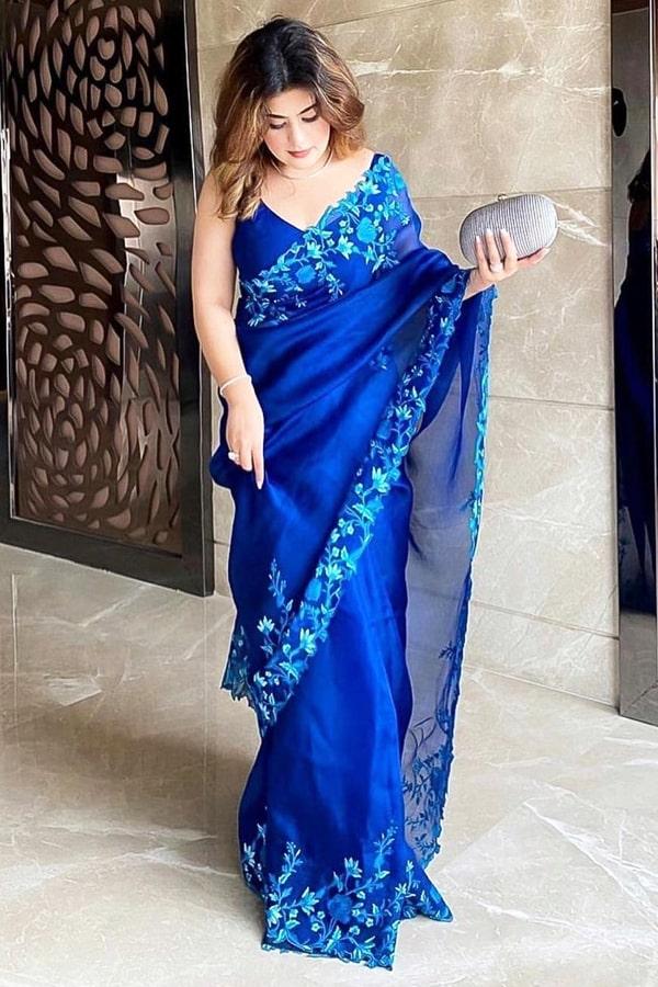 Royal blue pure organza silk Saree 2021