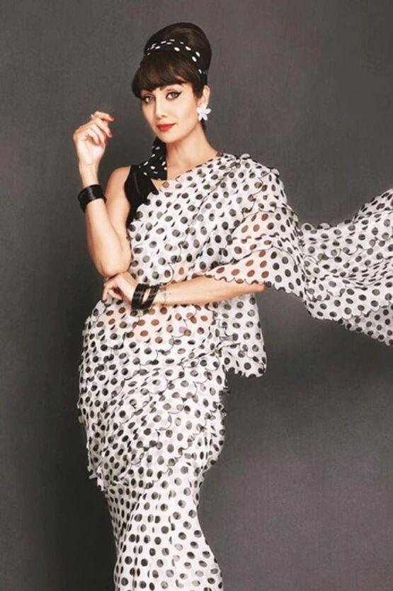 Shilpa Shetty Designer Saree White Black 2021