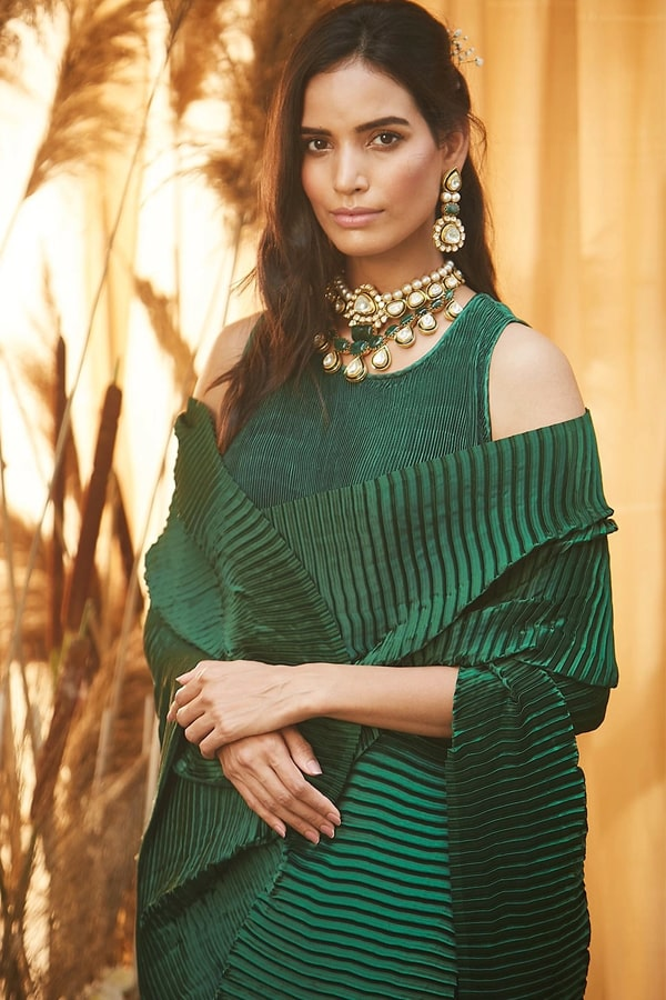 Simple designer sarees for wedding party Green 2021