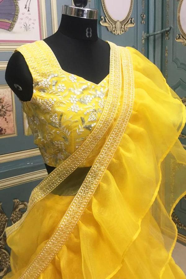 Plain simple lehenga design Yellow 2021 Haldi