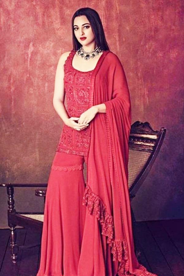 Sonakshi sinha in red sharara suit 2021