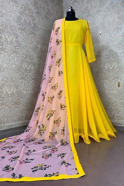 Stylish Yellow gown party wear 2021 yellow