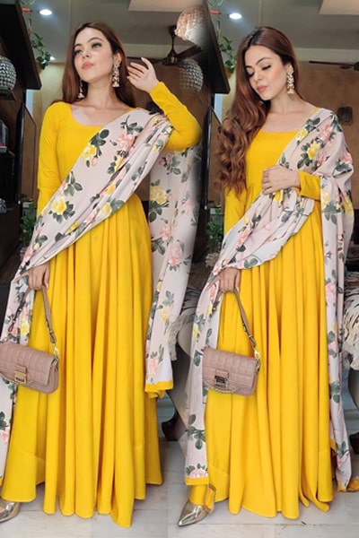 Stylish Yellow gown party wear 2021 latest