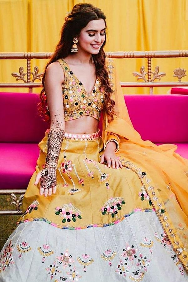 Stylish lehenga for haldi ceremony 2021 Yellow