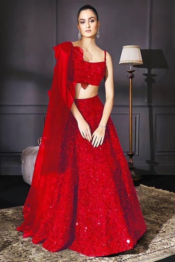 Stylish lehenga for teenage girl Red 2021