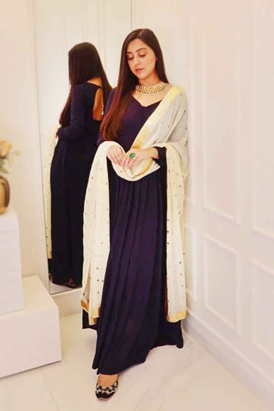 Stylish modern party wear gown navy 2021