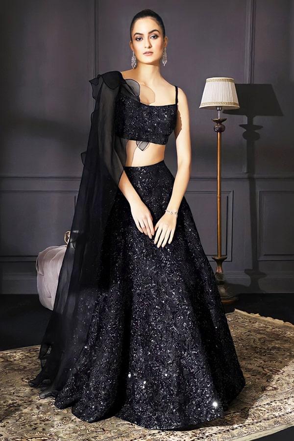 Stylish party wear lehenga for teenage girl 2021 Black
