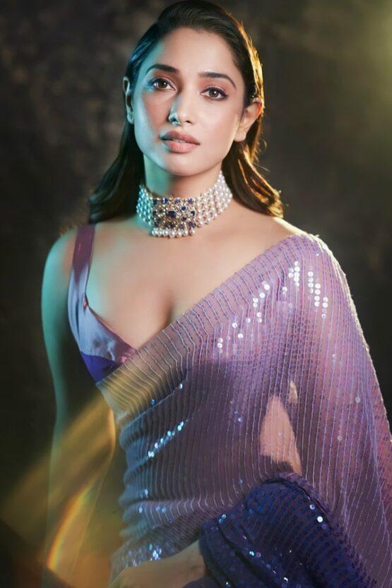 Tamanna bhatia purple Sequence saree buy 2021