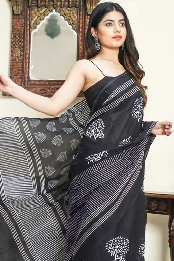 Teenage girl new saree design 2021 Black