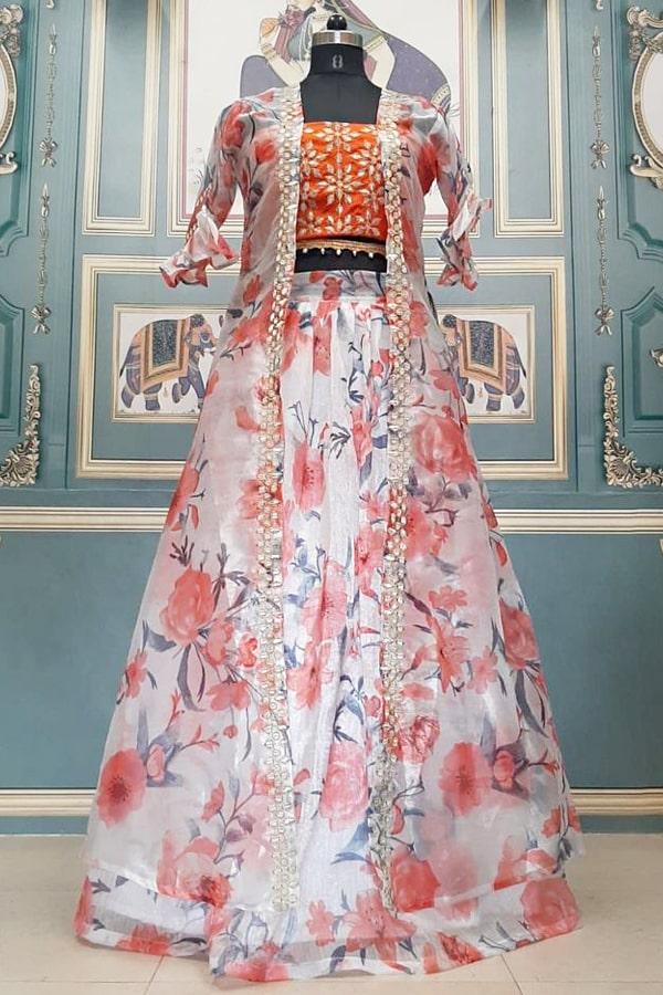 Zareen khan orange dress Lehenga 2021