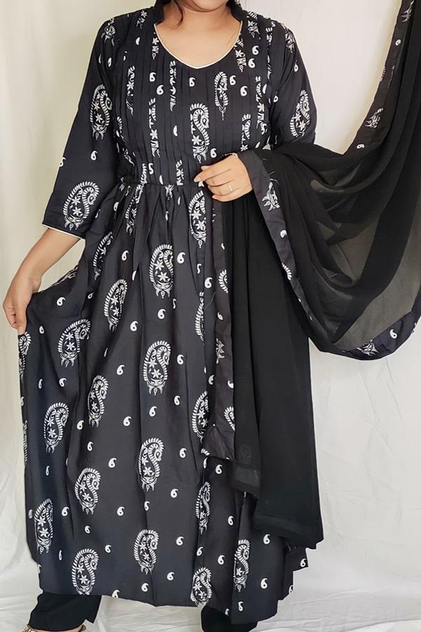 casual simple anarkali dress black