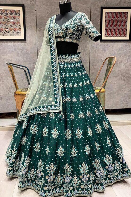 Dark green wedding wear lehenga choli 2021