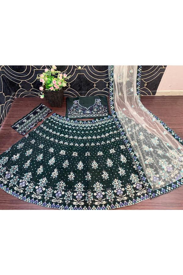 Dark green wedding wear lehenga choli 2021.