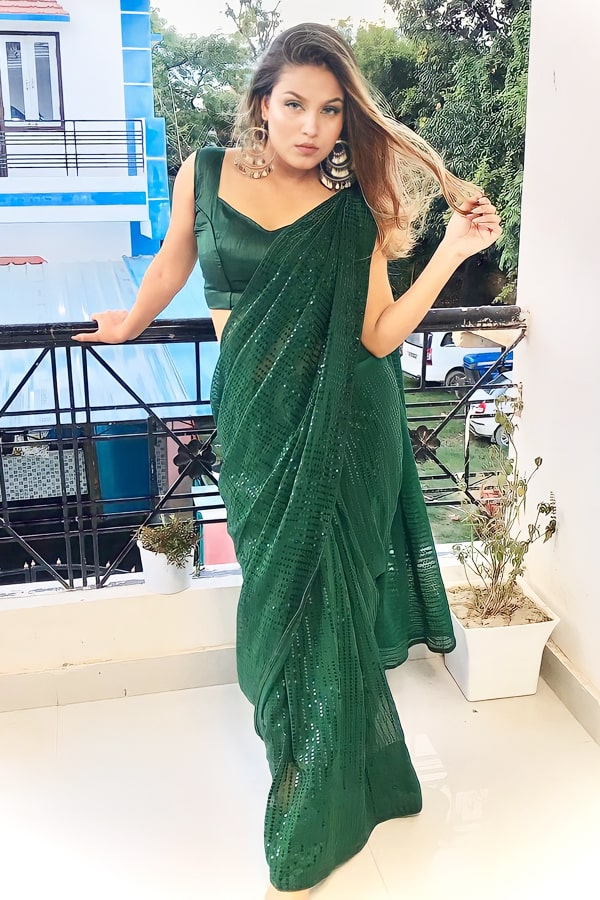 Designer Sequence saree for Engagement Green