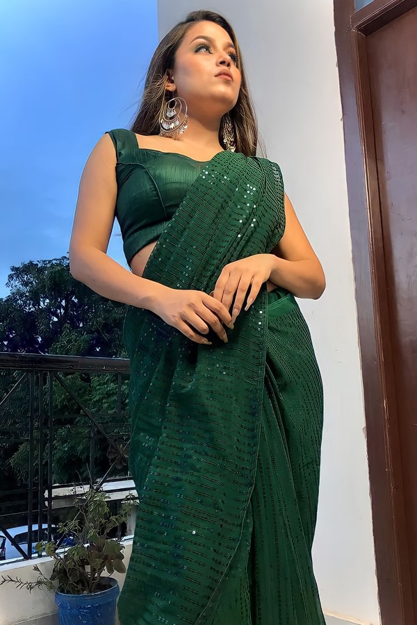 Designer Sequence saree for Engagement