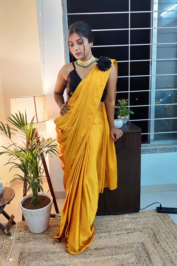 Designer stylish Readymade saree 2021 yellow