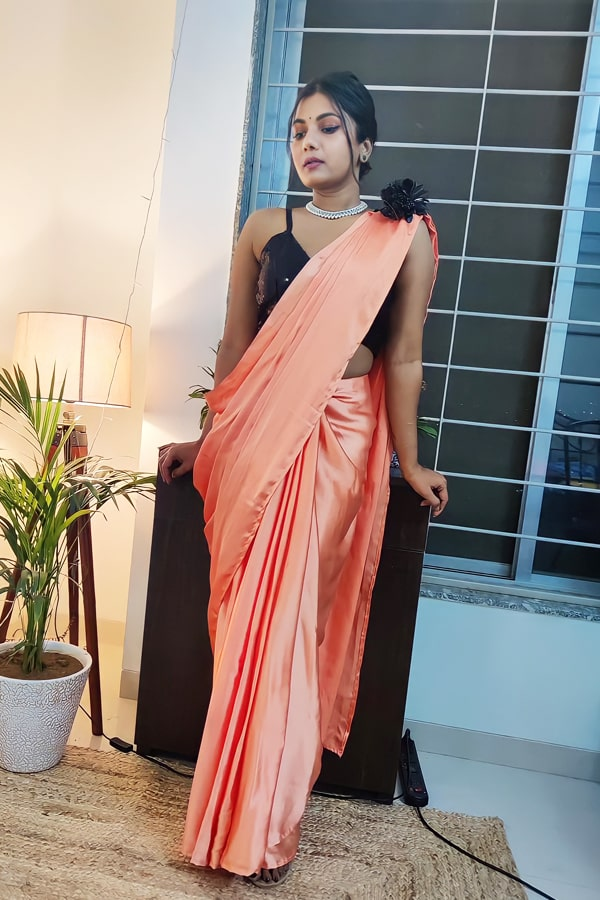 Designer stylish Readymade saree peach