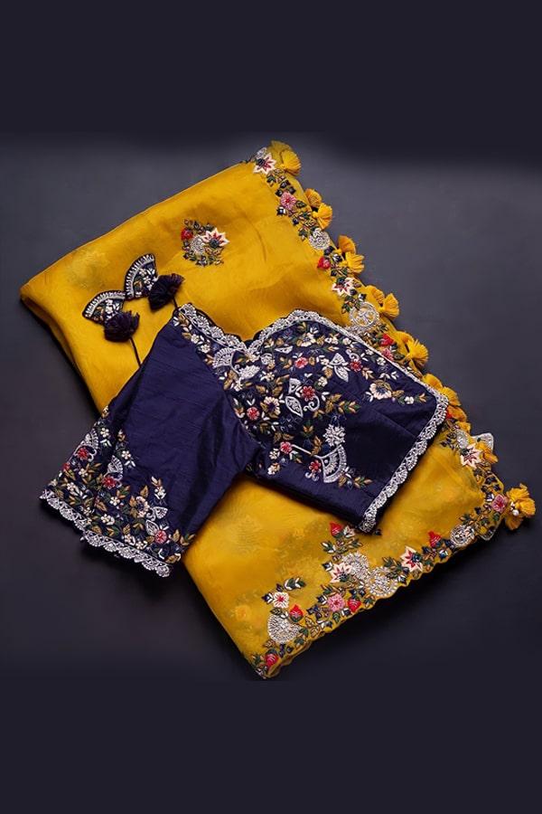 Fancy organza sarees Yellow Latest